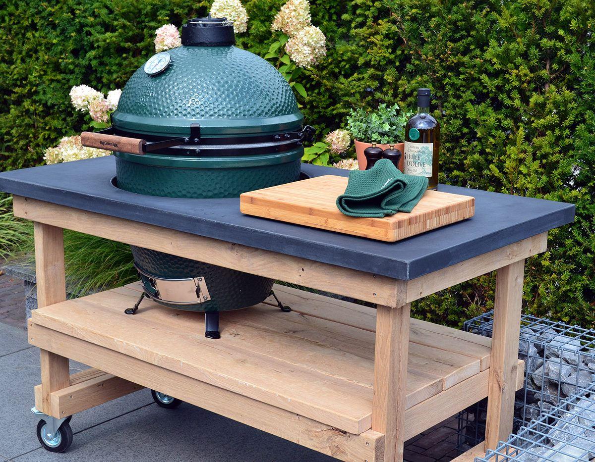 Eiken tafel met betonnen blad big green egg large beleef green