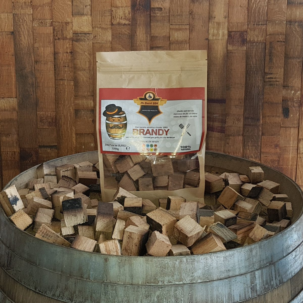Mr Barrel BBQ chunks brandy vaten