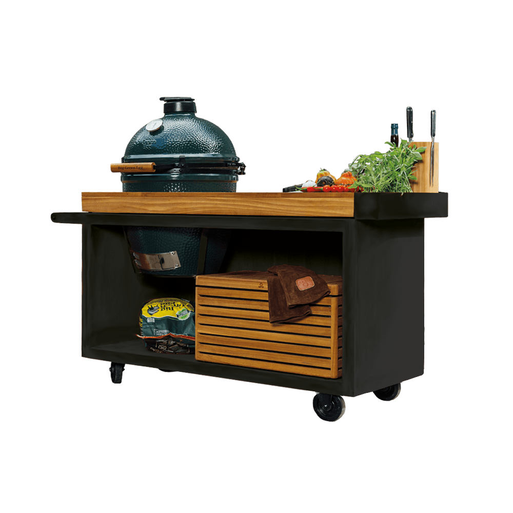 OFYR Kamado Table PRO black 135 + Big Green Egg large