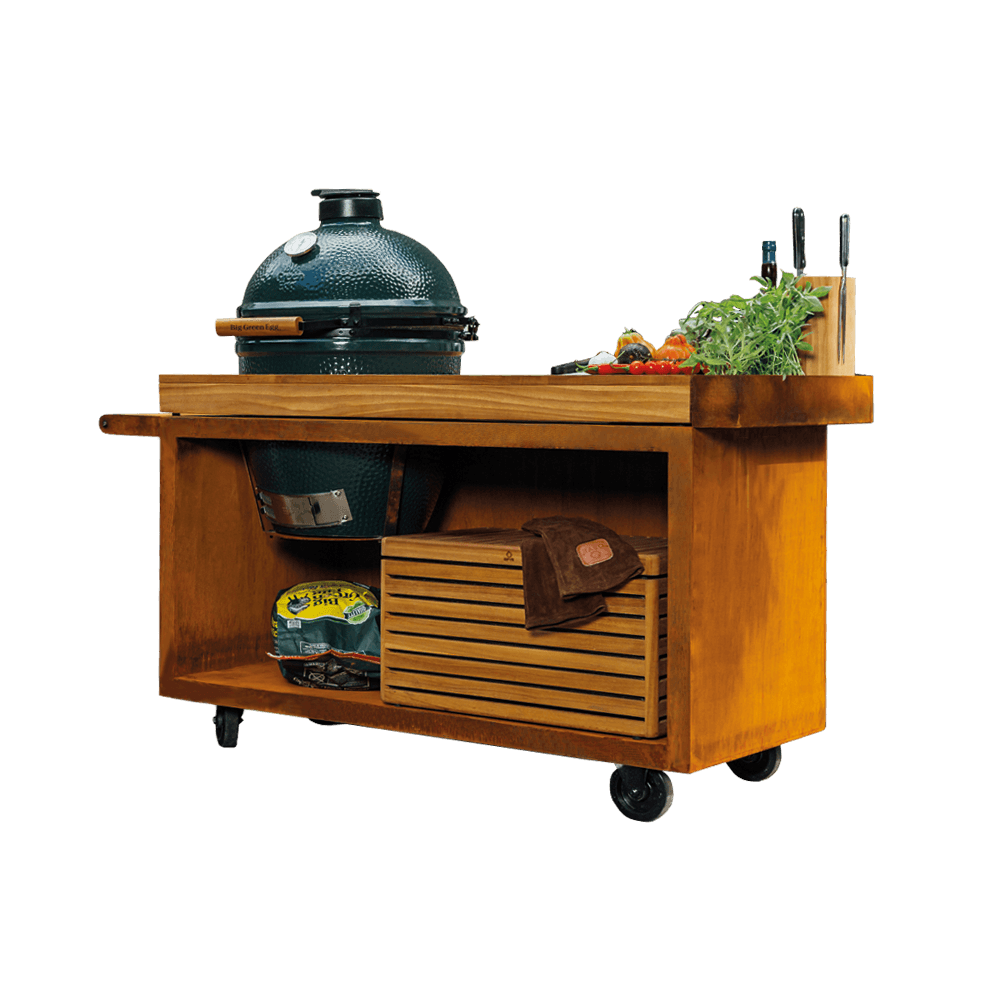 OFYR Kamado Table PRO Corten 135 + Big Green Egg large
