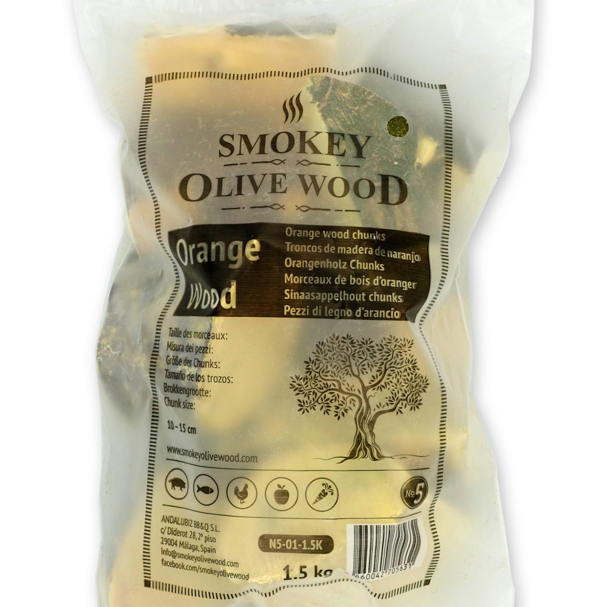 Rookchunks nr.5 1,5 kg sinaasappel Smokey Olive Wood